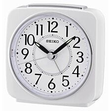 Seiko Square Beep Alarm Clock with Snooze - White