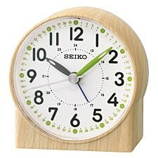 Seiko Green Lumibrite Alarm Clock with Wood Pattern Case