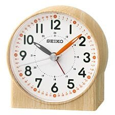 Seiko Orange Lumibrite Alarm Clock with Wood Pattern Case
