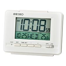 Seiko LCD Alarm Clock with Calendar and Thermometer - White