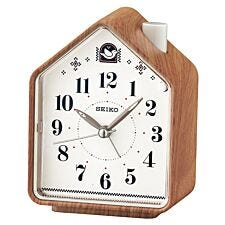 Seiko Bedside Beep Alarm or 2 Bird Songs Clock - Wood Pattern
