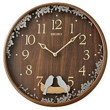 Seiko Swinging Bird Pendulum Wall Clock with Wood Effect Case - Dark Brown