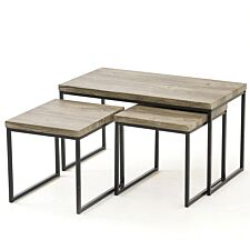 Kubik 3pc Coffee Table Set - Grey/Black