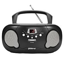 Groov-e Original Boombox Portable CD Player with Radio - Black