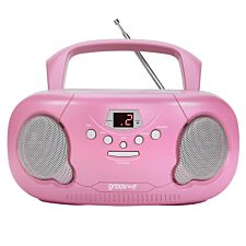 Groov-e Original Boombox Portable CD Player with Radio - Pink