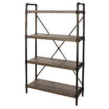 Gela Loft 4 Tier Bookshelf with Pipe Design Uprights
