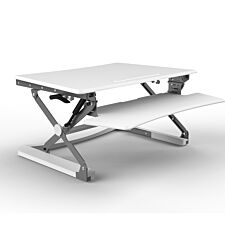 Naxos Large Sit-Stand Workstation with Keyboard Tray - White