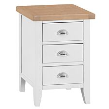Madera 3 Drawer Narrow Bedside Table - White