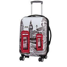 Rock 55cm Montana Expandable 8 Wheel Hard Shell Spinner Suitcase - London Sketch Print