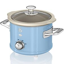 Swan SF17011BLN 1.5L Retro Slow Cooker - Blue