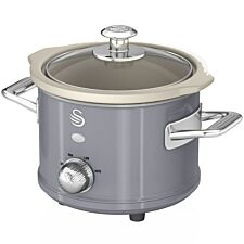 Swan SF17011GRN 1.5L Retro Slow Cooker - Grey