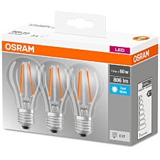 Osram Classic A 60W Frosted Filament ES Bulb 3 Pack - Cool White
