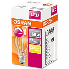 Osram Classic A 60W Clear Filament Dimmable ES Bulb - Warm White