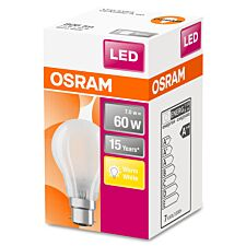 Osram Classic A 60W LED Filament Frosted BC Bulb - Warm White