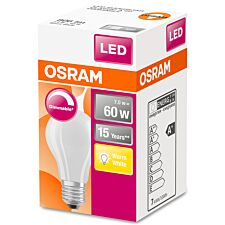 Osram Classic A 60W LED Filament Frosted ES Dimmable Bulb - Warm White