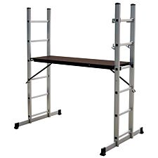 Charles Bentley 5 Way Aluminium Multi Purpose Scaffolding Ladder with Working Platform