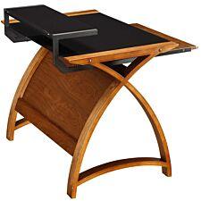 Jual Helsinki Curve Walnut/Glass Desk 900