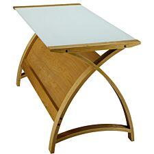 Jual Helsinki Curve Oak/Glass Laptop Desk 900