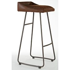 New Foundry Bar Stool with Brown Leather Effect