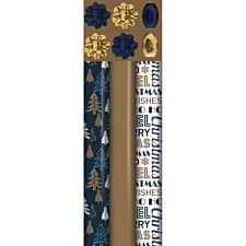 North Pole 1.5M Luxury Wrapping Paper - Navy/Gold