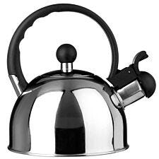 Premier Housewares 1L Mirror-Finish Stainless Steel Whistling Kettle - Silver