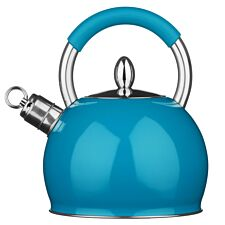 Premier Housewares 2.4L Stainless Steel Whistling Kettle - Blue
