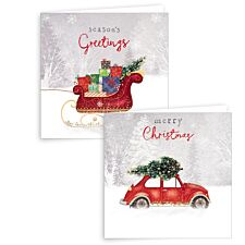 Giftmaker 10 Square Cards - Red Car & Sleigh
