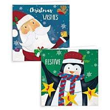 Giftmaker 10 Square Cards - Santa & Penguin