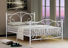 Isabelle Metal Bed Frame With Crystal Finials - White