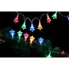Robert Dyas Battery Operated 20 LED Star String Lights - Multi-Coloured