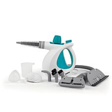 Beldray BEL0701TQN 10–in–1 Handheld 1000W Steam Cleaner – White / Turquoise