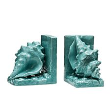 Premier Housewares Conch Set of 2 Bookends - Turquoise Dolomite