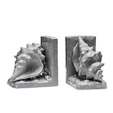 Premier Housewares Conch Set of 2 Bookends - Grey Dolomite