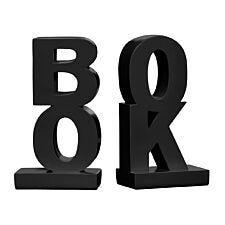 Premier Housewares 'Book' Bookends Set of 2 - Polyresin Black High Gloss