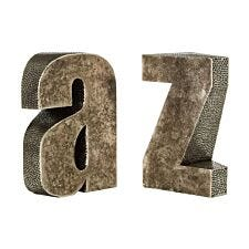 Premier Housewares A Z Bookends - Polyresin Antique Silver