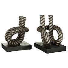 Premier Housewares Set of Rope Bookends - Polyresin Antique Silver/Black