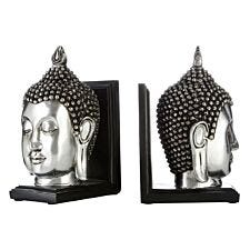 Buddha Head Set of 2  Bookends - Polyresin Silver