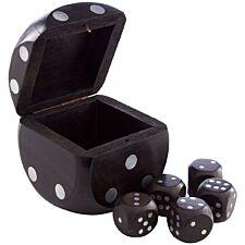 Premier Churchill Dice Box With 5 Dice - Black Wood
