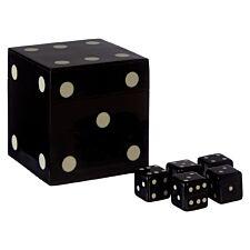 Premier Churchill Games Dice Box with 5 Dice - Black/White Finish