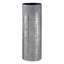 Premier Housewares Embra Ceramic Flower Vase in Grey/Silver Finish - Large
