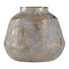 Premier Housewares Orvena Ceramic Vase in Grey/Gold Finish - Small