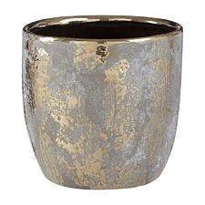 Premier Housewares Orvena Ceramic Flower Pot in Grey/Gold Finish - Large