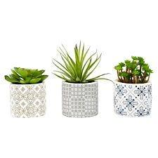 Premier Housewares Set of 3 Faux Succulents in Henna Ceramic Pots