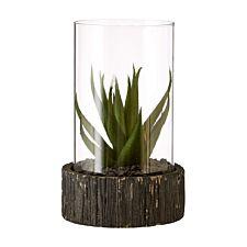 Premier Housewares Small Faux Succulent with Black Stone Base