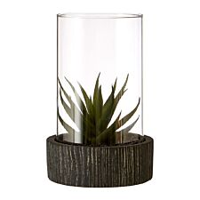 Premier Housewares Large Faux Succulent with Black Stone Base