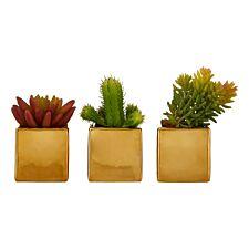 Premier Housewares Set of 3 Mini Faux Succulents in Gold Ceramic Pots