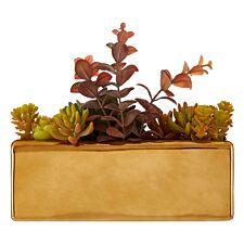 Premier Housewares Mixed Faux Succulents in Ceramic Gold Pot