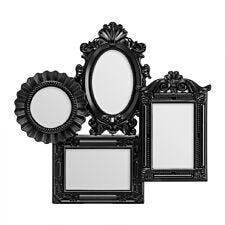 Premier Housewares Multi Photo Frame 4 Photo in Black Plastic Frame  - 2 Rectangular,1 Oval,1 Round