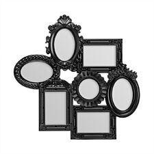 Premier Housewares Multi Photo Frame, 7 Photo Black Plastic Frame - 3 Rectangular,3 Oval,1 Round