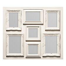 Premier Housewares Multi Photo Frame, 7 Photo Cream Plastic Frame - 5 Rectangular, 1 Square